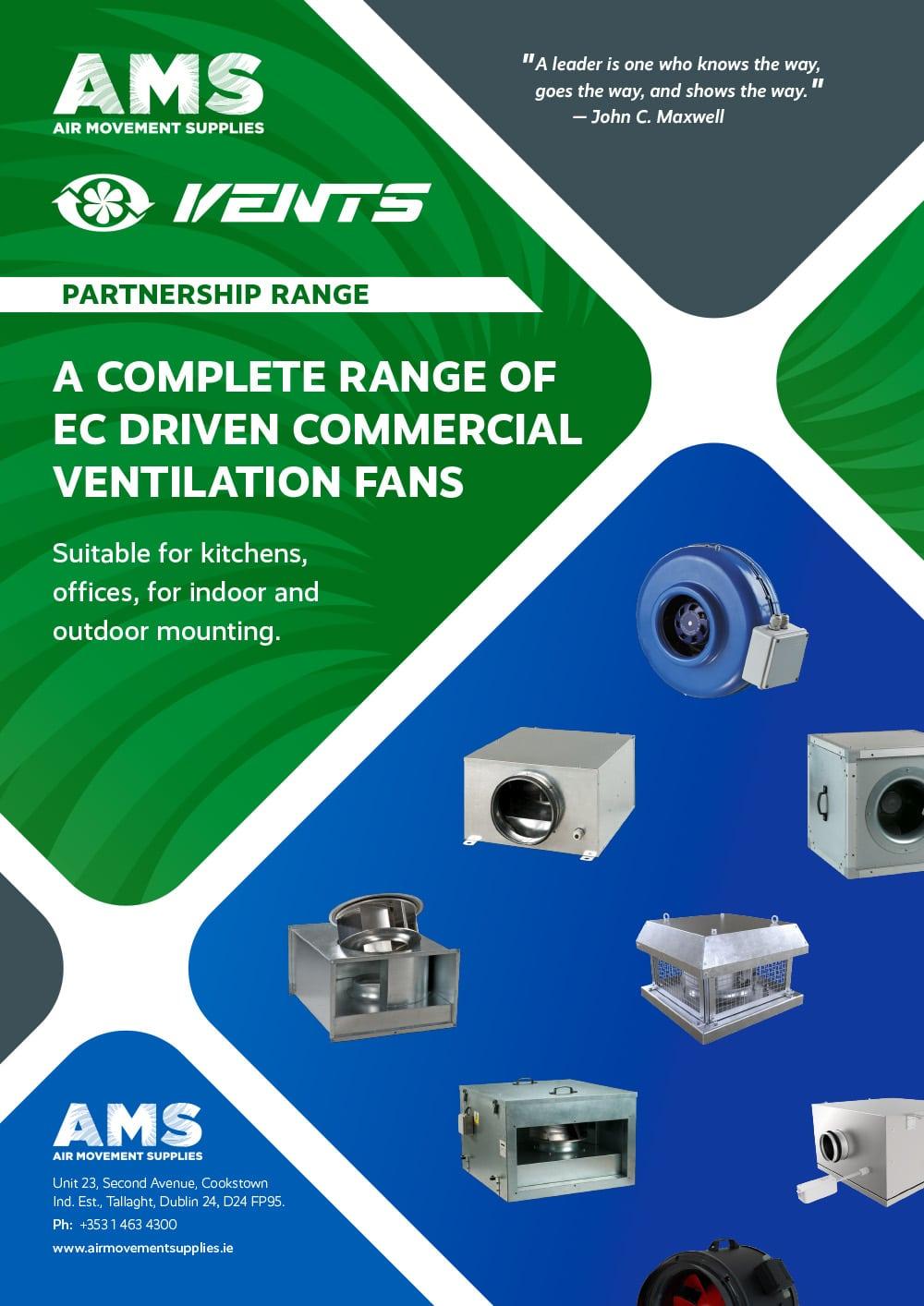 AMS Vents Partnership Range EC Commercial Ventilation